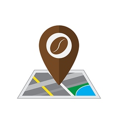 Coffee pin on coordinated map location illu vector image
