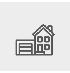 Home and garage thin line icon vector