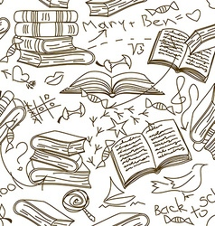 Seamless pattern of books and childrens scribbles vector