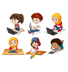 Children using computer and tablet vector