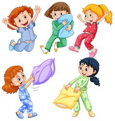 Girls in pajamas at slumber party vector