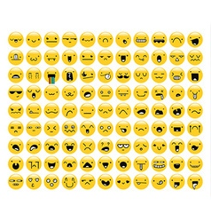 Great set of 99 yellow emotion isolated on white vector