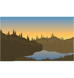 Silhouette of lake on the highlands vector