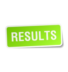 Results green square sticker on white background vector