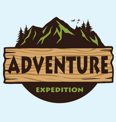 adventure mountain camping logo template vector image vector image