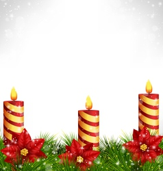 Candles with pine and poinsettia on grayscale vector