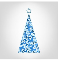 Christmas tree from blue butterfly with star vector