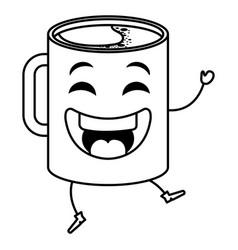 coffee cup kawaii character vector image