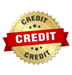 Credit 3d gold badge with red ribbon vector