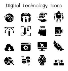 Digital data technology icon set vector