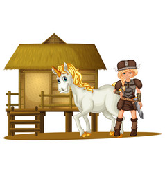 Female viking and unicorn by the wooden hut vector