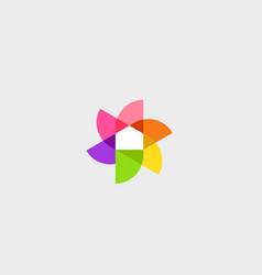 flower home logo design template colorful vector image vector image
