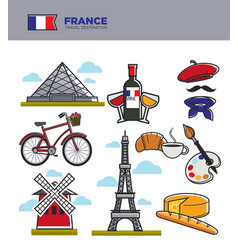 France travel tourism symbols and famous french vector