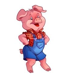 funny happy pig vector image vector image