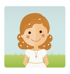 Girl communion foreground with curly hair on blue vector