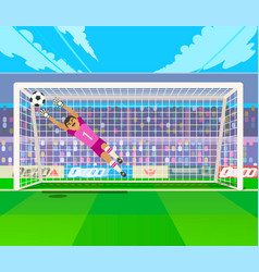 goalkeeper jumping for ball vector image