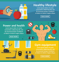 Gym healthy banner horizontal set flat style vector