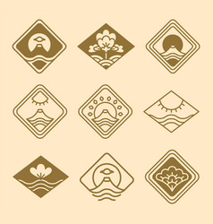 japanese icons floral set vector image