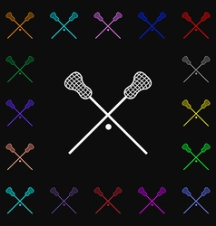 Lacrosse sticks crossed icon sign lots of colorful vector