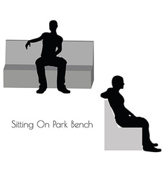 man in Sitting On Park Bench pose on white vector image vector image