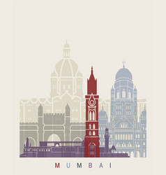 Mumbai skyline poster vector