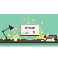 Online business review with gold coin computer vector