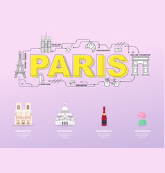 Paris sightseeing tour with landmark icons in vector