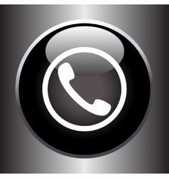 Phone handset icon on black glass button vector image vector image