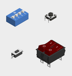 set of different electrical buttons and switches vector image