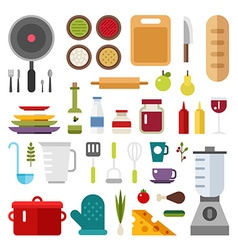 Set of Icons and in Flat Design Style itchen vector image vector image