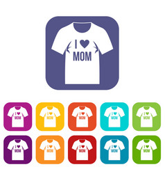Shirt with print icons set flat vector