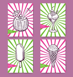Sketch set with ice cream poster vector image