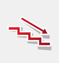 Stair down with arrow new year reddish vector