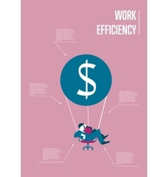Work efficiency infographics template with man vector