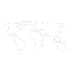 world map - angular outline vector image