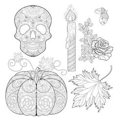 Zentangle stylized Skull candle rose oak acorn vector image