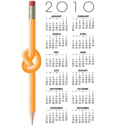 2010 knotted pencil calendar vector image