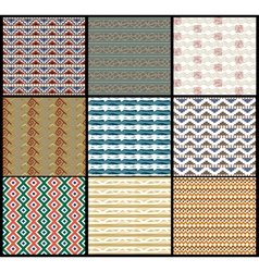 Set tribal Seamless background vector image