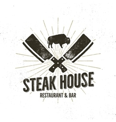 Steak house vintage label typography letterpress vector
