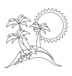 Monochrome contour with beach with starfish vector