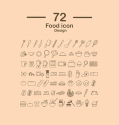 72 food line icon design vector image