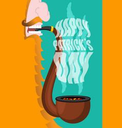 Patricks day leprechaun smokes pipe smoking set vector