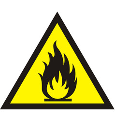 Fire warning sign on white background vector