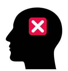 A silhouette of a head with a closed sign vector