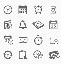 Time and schedule stroke symbol icons set vector