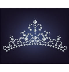 Tiara crown womens wedding made from diamonds vector