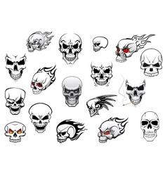 Collection of halloween and horror skulls vector