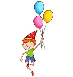 A happy kid with balloons vector