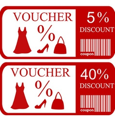 5 and 40 discount vouchers vector