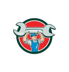 Mechanic lifting spanner wrench circle cartoon vector